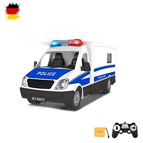 HSP Himoto RC ferngesteuertes Polizei Transporter Auto mit Sound-, Vorder- und Rücklicht, Blaulicht, Fahrzeug Komplett-Set, Inkl. Fernsteuerung, Akku und Ladekabel