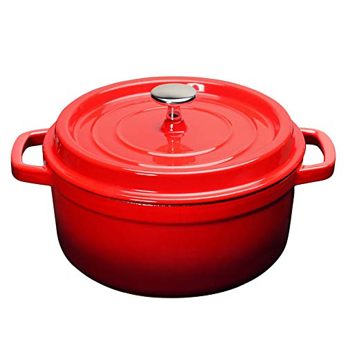 LARRY SHELL Genatrischer Cast Iron Dutch Oven Pot mit Lid Edelstahlknob Classic Red Soup Pot Cast Cast Iron Cooker geeignet für die Heim-Küche Cooking 6.5 Quart Cast Iron Soup Pot
