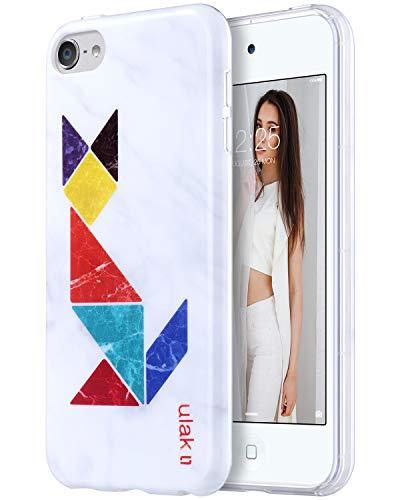 �r iPod Touch 6, schlankes Design, Kratzfest, flexibel, weiche TPU, Rückseite aus Polycarbonat, stoßfest, für Apple iPod Touch 5/6, Marble+Tangram Fox ()