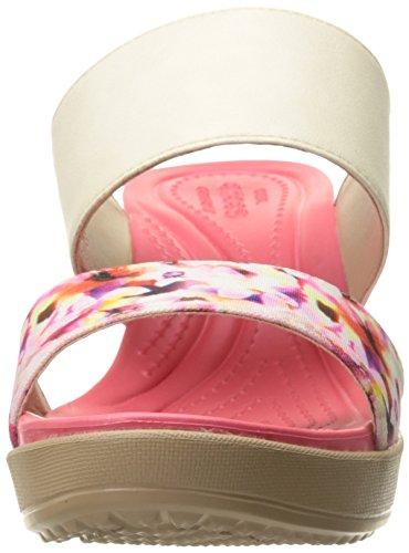 Crocs Women's Leigh II 2 Strap Graphic Wedge Sandal Stucco/Gold
