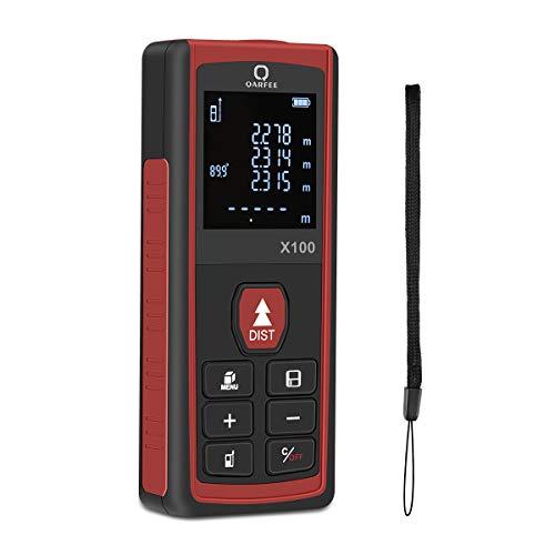 Qarfee 100M Digitaler Laser Entfernungsmesser, Lasermessgerät Distanzmesser und LCD-Hintergrundbeleuchtung, Entfernungsmesser mit 2 Level Blasen Messeinheit m/in/ft,IP54,2 x 1.5 V AAA-Batterie 1 Digital Laser
