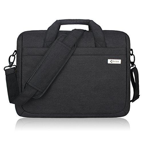 Zikee 15,6 Zoll wasserfeste und 360° stoßfeste Messenger-Bag als Schutz für Ihren Laptop/Notebook mit Handgriff und Schultergurt für Schule, Studium, Reisen und im Büro und für geschäftliche Nutzung (Schwarz)