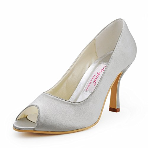 Elegantpark EP11017 Simplement Bout Ouvert Satin Femmes Aiguille Soiree Chaussures de Mariee Mariage Argent