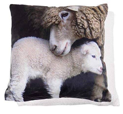 Gefüllt Sherpa Weihnachten Braun Schaf Lamb Ewe samt Vlies Sehr Weich Süß Kissen 20
