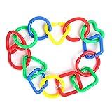 Hosaire 1x Baby Puzzle Early Learning Toys Set Baby Hand Grab Cerchio Collegamento Anello Arcobaleno Catena per Passeggino Clip Birthday Carrozzina