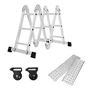 SAILUN® 6 en 1 Escalera de Tijera 3.4M Escalera Multifunción Plegable Escalera Articulada con Plataforma 4×3 Escalera de aluminio Escalera combinada de alta calidad, Cargable hasta 150 kg