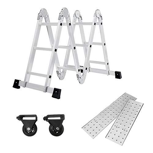 SAILUN® 6 en 1 Escalera de Tijera 3.4M Escalera Multifunción Plegable Escalera Articulada con Plataforma...