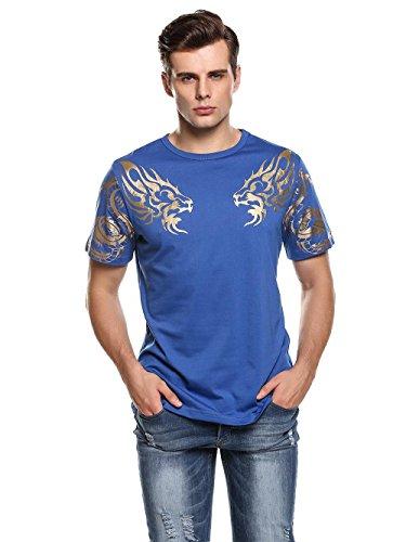 Herren T-Shirt Kurzarmshirt Top Dragon Print Shirt Casual Basic O-Neck B-Blau