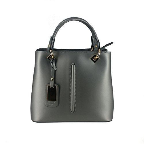 Laura Moretti - Handtasche aus Metallic-Leder mit metallischem Anhängeranhänger und Mittelstreifen (Suede Metallic Handtasche)