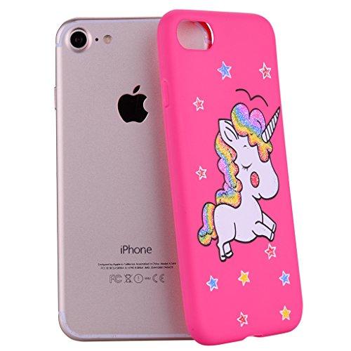 """Hülle für Apple iPhone 7 , IJIA Rein Rose Niedlich Einhorn TPU Weich Handytasche Silikon Stoßkasten Handyhülle Cover Schutzhülle Schale Case Tasche für Apple iPhone 7 (4.7"""") rose"""