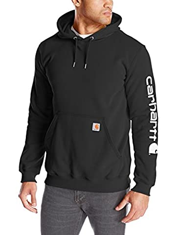 Carhartt .K288.BLK.S007 Midweight Sleeve Logo Hooded Sweatshirt, Colour: Black, Size: