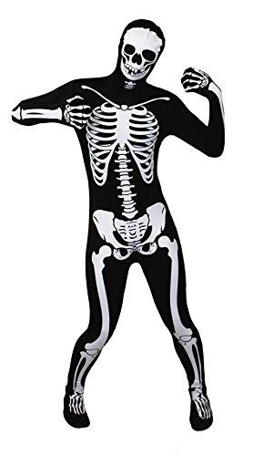 SKELETTON GANZKÖRPERANZUG/KNOCHENANZUG SKINSUIT IN 5 VERSCHIEDENEN GRÖSSEN= VON ILOVEFANCYDRESS®= DER ANZUG HAT EINEN WEIßEN SKELETT AUFDRUCK AUF DER VORDERSEITE = IN DER GRÖßE (Skin Skelett Suit)