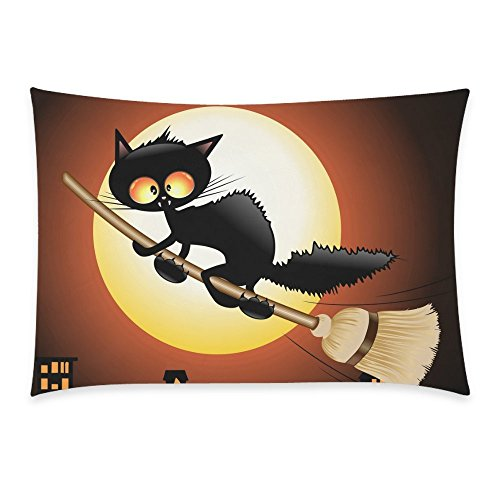 Black Cat Lovely Moon Cartoon Home Decor Pillowcase 20 x 30 inches - Night Moon Cat Flying on Witch Broom Pillow Cover Case Shams Decorative (Cute Halloween Cat Namen)