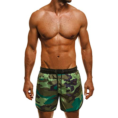Tefamore Bañador Bóxer de Natación Hombre Camuflaje Pantalones Cortos de Surf Traje de Baño Secado...