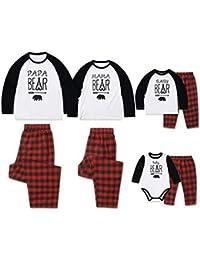 TAAMBAB Pijamas Iguales de Familiar Navideños Conjuntos Algodón Navidad Pijamas Papa Mama Baby Impresión Manga Larga Camiseta y Pantalones a Cuadros Rojos para Papá Mamá Bebé