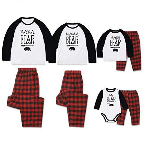TAAMBAB Familie Weihnachtspyjamas Sets Baumwolle Weiche Bequeme Weihnachtspyjamas Papa Mama Baby Druck Langarm T-Shirt und rote Karierte Hose für Papa Mutter Kind