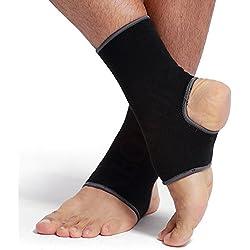 Tobillera ancha de sujeción - Tejido ligero, elástico y transpirable - Para aliviar los músculos - Marca NEOtech Care ( TM ) - Compresión media - Paquete de 1 unidad - Negro - Talla L