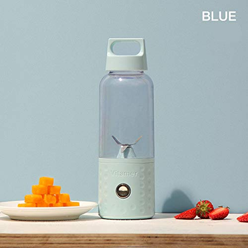 Mini Portable Stirring Cup USB Juicer Cup-Four Blades Baby Food Mixing Machine Household Fruit Mixer,Blue -