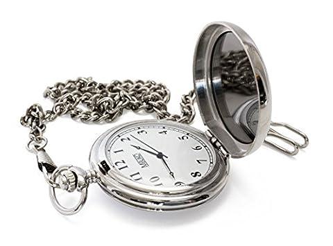 MBUKO Taschenuhr mit Spiegel | Farbe Silber | Mit Kette und Geschenkbox | Quarzwerk | Für Herren und Damen