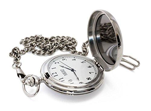 MBUKO Taschenuhr mit Spiegel | Farbe Silber | Mit Kette und Geschenkbox | Quarzwerk | Für Herren und Damen (Schweiz Watch Automatic)