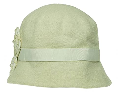 Nine West Women's Wool Knit Microbrim with Velvet Rosette One Size Ivory