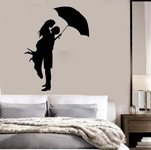 Besar Pareja Con Paraguas Pegatinas de Pared Calcomanía de Vinilo Pegatinas de Pared Amor Romántico Arte Wallpaper Impermeable Poster 57x89cm