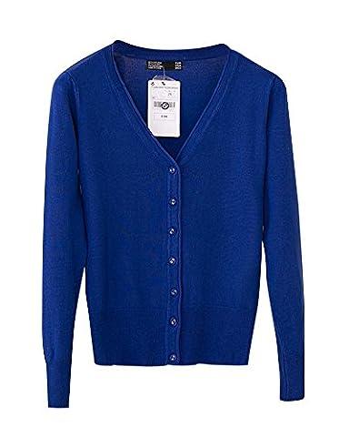 Damen Lose V-Ausschnitt Strickjacke Cardigan Lange Ärmel Outwear Knopf Tops Saphir Blau XL