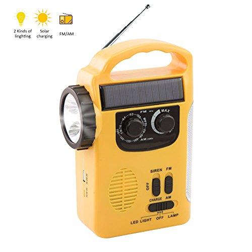 Pueri LED Solar Radio Notfall Wetter Radio Multifunktionale Solar Handkurbel Self Powered Solar Ladegerät Power Bank mit LED Lampe Perlen (Kurbel-powered Radio)