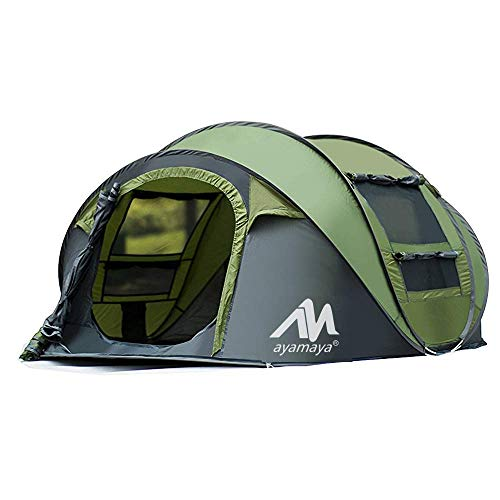 Tende da campeggio 3-4 persone Easy Up Instant Dome tende, 2WIN2BUY da campeggio impermeabile [2] privacy automatico Big Family tenda pop-up con borsa da trasporto per picnic Beach Outdoor, Green