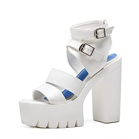 Women's Fashion Buckle Open Toe Square Ankle Wrap Platform Sandals white / US 8