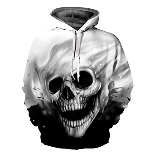 BHYDRY Unisex 3D Printed Skull Pullover Langarm mit Kapuze Sweatshirt Tops Bluse(2XL,Schwarz)