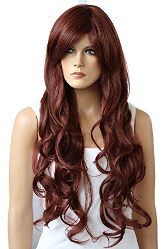 PRETTYSHOP Voluminöse Perücke Wig gewellt langhaar aus hitzebeständiger Kunstfaser rotbraun #35 FS836v