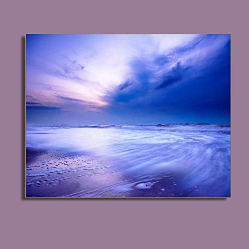 WWWMR Lila Bewölkt Seascape Strand Wandkunst Poster Drucken Leinwand Malerei Kalligraphie Dekorative Bild Für Wohnzimmer Wohnkultur-B - Strand Leinwand Drucken