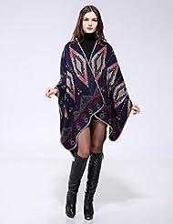 Geométricas de estilo de moda Nepal mujeres espesado manta bufanda abrigo Poncho chal cabo acogedor imitación Cashmere regalos ideales para mujer de gran tamaño 150 * 130cm