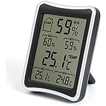 MinYuocom Termómetro Higrómetro Digital Medidor Temperatura y Humedad Interior MZHH113B(Negro)