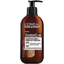 L'Oréal Men Expert Champú 3 en 1: Barba, Cabello y Rostro Barber Club - 2 Paquetes de 1 Botella de 250 ml - Total: 500 ml