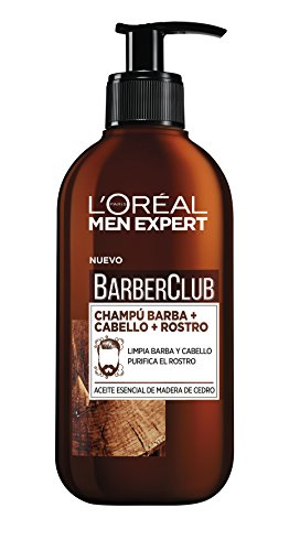 L'Oréal Men Expert Champú 3 en 1: Barba, Cabello y Rostro Barber Club - 2 Paquetes de 1 Botella de 250 ml - Total: 500 ml