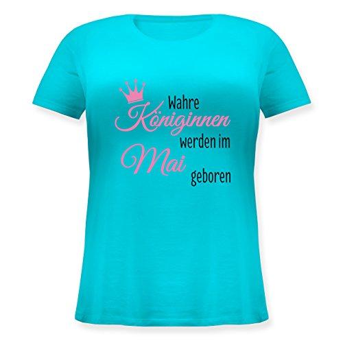 Geburtstag - Wahre Königinnen werden im Mai geboren - Lockeres Damen-Shirt in großen Größen mit Rundhalsausschnitt Türkis