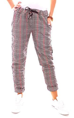Damen Lounge Stretch Hose Pepita Glencheck Jogginghose Relaxpants Lang Baumwolle Kariert Galon Streifen Schwarz-Weiß-Rot S 36 -