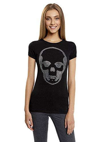 en T-Shirt mit Totenkopf Aus Strasssteinen, Schwarz, DE 34/EU 36/XS (Stiefel Mit Totenköpfen)