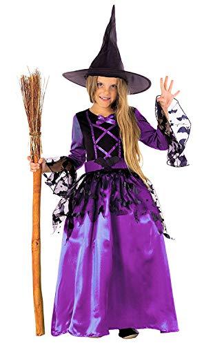 Magicoo Fledermaus Hexenkostüm Kinder Mädchen lila schwarz & Hexenhut - schickes Halloween Kostüm Hexe Kind, Gr. 110-152 - Schwarze Hexe Kleid Kostüm