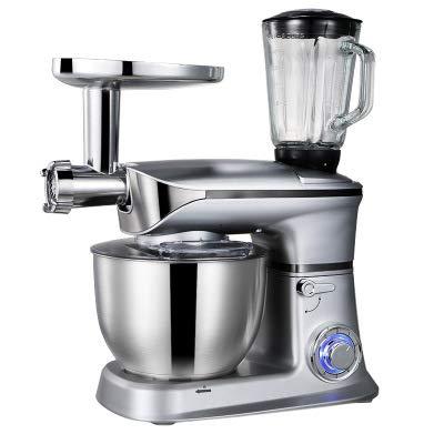 OOFAT Küchenmaschine Und Mixer, Speisen Küchenmaschine Entsafter Mixer Mincer DREI-In-One, Mit Schüssel-Edelstahl, 5 L,Silber