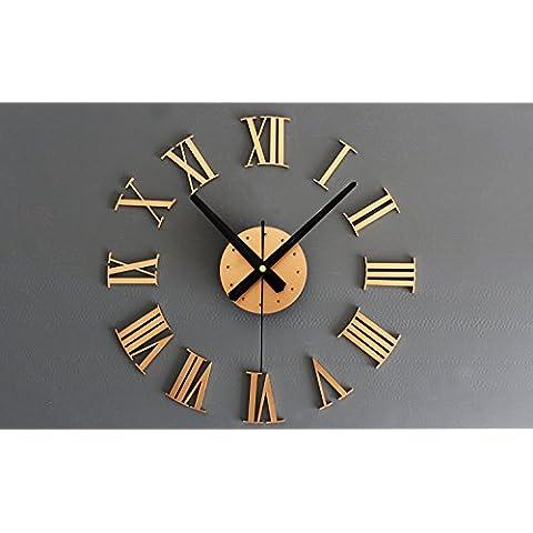 LOVE(TM)de metal de DIY 3D números romanos reloj de pared de pared creativo que pega pm (Oro)