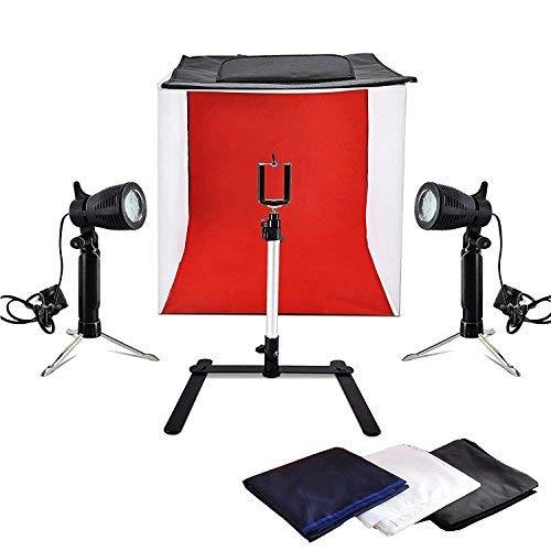 PHOTO MASTER Zelt Würfel Licht 40x40x40cm Mini Fotostudio Mit LED Beleuchtung 5000-5500K mit 4 Boden Stoff Schwarz Weiß Rot und Blau und Telefon Reparieren