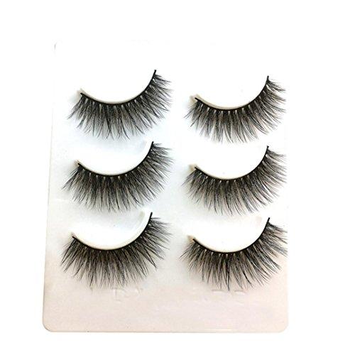 HKFV 3D Wimpern, 3 Paare Lange Falsche Wimpern Make-up Natürliche Gefälschte Dicke Schwarze Augenpeitschen Am Besten Für Party Fake Eyelashes Handgefertigte Künstliche Wimpern (C) -