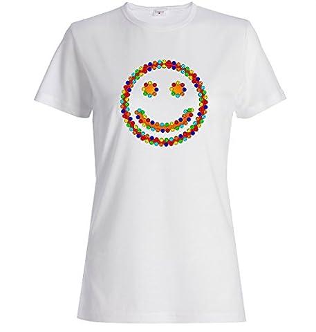 Smiling smileys funny logo t-shirt femme coton X-Large