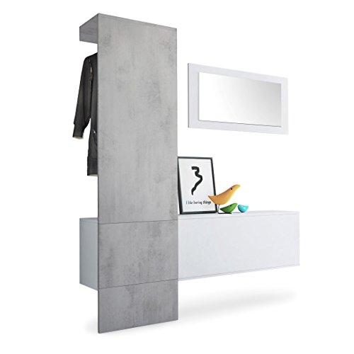 Garderobe Wandgarderobe Carlton Set 4, Korpus in Weiß matt / Paneel in Beton Oxid Optik