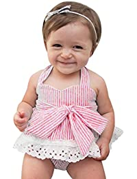 Ropa Bebe Niña Verano Fossen Recien Nacido Cuello Haltar de Estilo Tops y Pantalones con Cintas