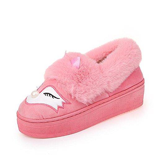 HSXZ Scarpe donna floccaggio Fall Winter Snow Boots stivali tacco piatto Round Toe stivaletti/stivaletti di abbigliamento casual Rosa Rosso Nero Red
