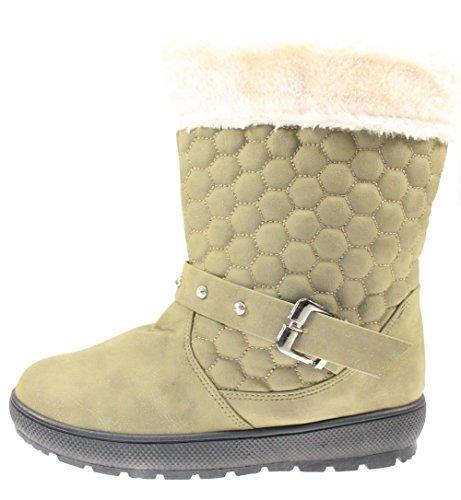 Winterstiefel/Schneestiefel Damen gefüttert Farbe Khaki Khaki
